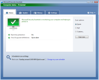 Microsoft Security Essentials - Hoofdscherm