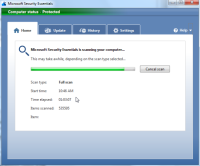 Microsoft Security Essentials - Systeemscan