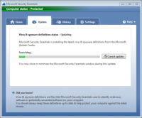 Microsoft Security Essentials - Update scherm